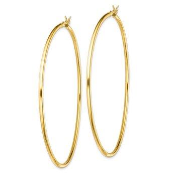 Sterling Silver Gold-Tone Polished 2x70mm Hoop Earrings