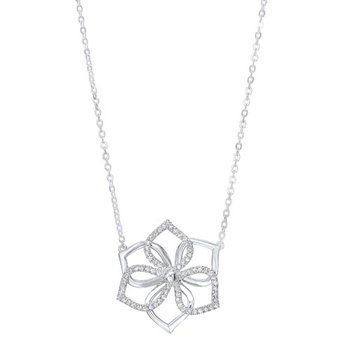 Diamond Hibiscus Flower Pendant Necklace in Sterling Silver (1/5ctw)