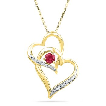 10kt Yellow Gold Womens Round Lab-Created Ruby Heart Love Pendant 1/3 Cttw