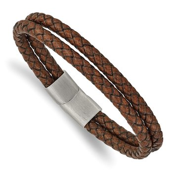 Stainless Steel Brushed Brown Leather 2-Strand Braided 8in Bracelet