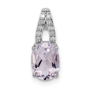 Sterling Silver Rhodium-plated Diamond & Pink Quartz Oval Pendant