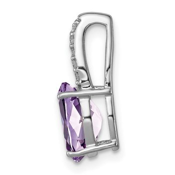 Sterling Silver Rhodium Plated Diamond/Amethyst/Rose de France Oval Pendant