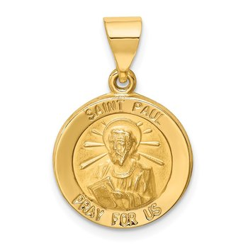 14k Polished and Satin St Paul Medal Hollow Pendant