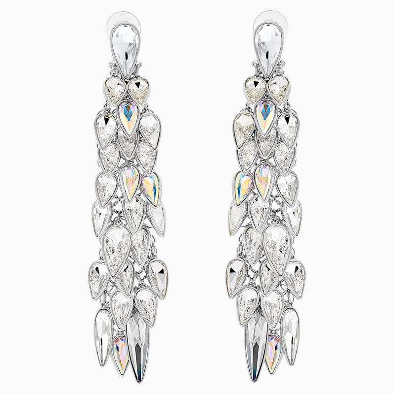 Swarovski Polar Bestiary Clip Earrings, Multi-colored, Rhodium plated
