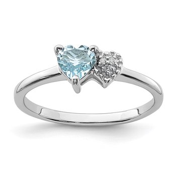 Sterling Silver Polished Aquamarine and Diamond Ring