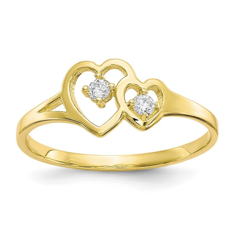Fine Jewelry by JBD 10k Double Heart CZ Ring