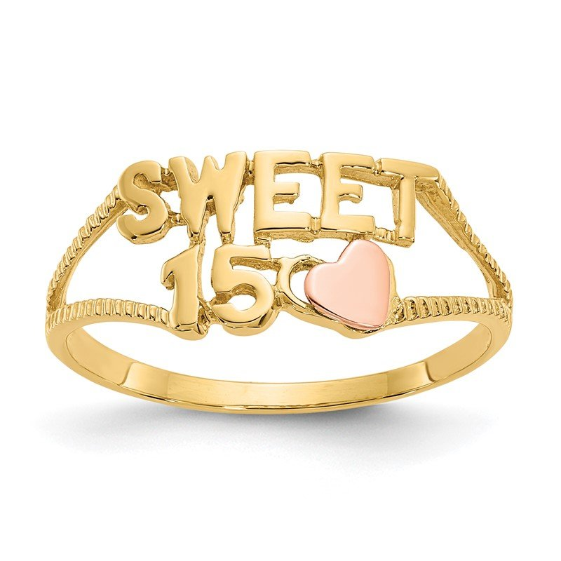Quality Gold 14K Two-tone Sweet 15 Heart Ring