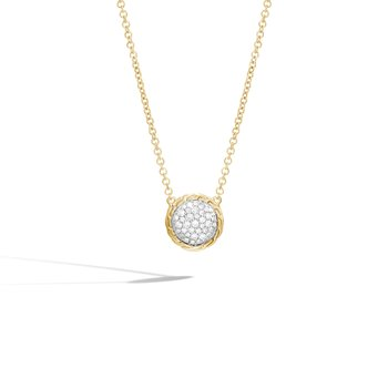 Classic Chain Round Necklace in 18K Gold with Diamonds
