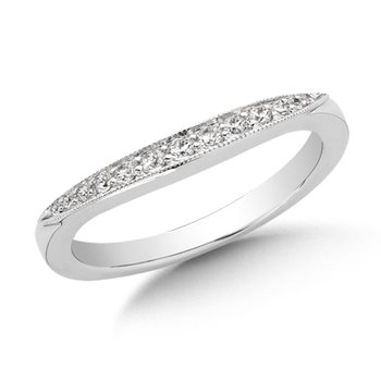 Curved Diamond Wedding Band 14k White Gold (1/5ct. tw.)