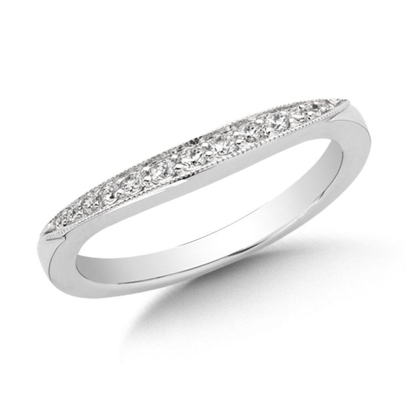 SDC Creations Curved Diamond Wedding Band 14k White Gold (1/5ct. tw.)