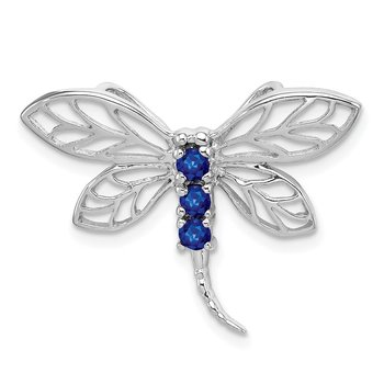 Sterling Silver Rhodium Sapphire Dragonfly Pendant