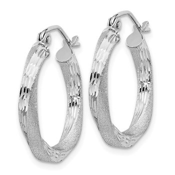 Sterling Silver Rhod-plated Satin Diamond-cut Twisted 3x20mm Hoop Earrings