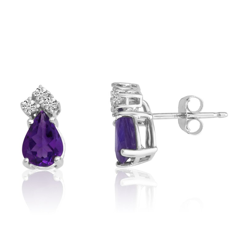 Color Merchants 14k White Gold 7X5 Pear Amethyst and Diamond Earrings