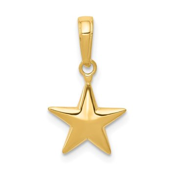 14k Small Polished 3-D Star Charm
