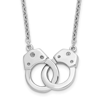 Sterling Silver Rhodium-plated Handcuff Necklace