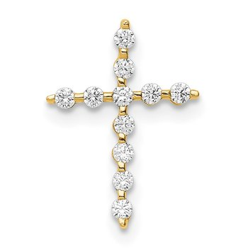14K CZ Cross Pendant Chain Slide