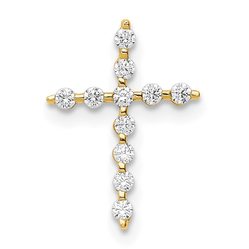 Quality Gold 14K CZ Cross Pendant Chain Slide