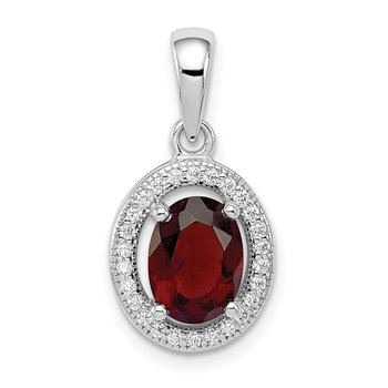 Sterling Silver Rhod-plated w/ Dark Red and White CZ Oval Pendant
