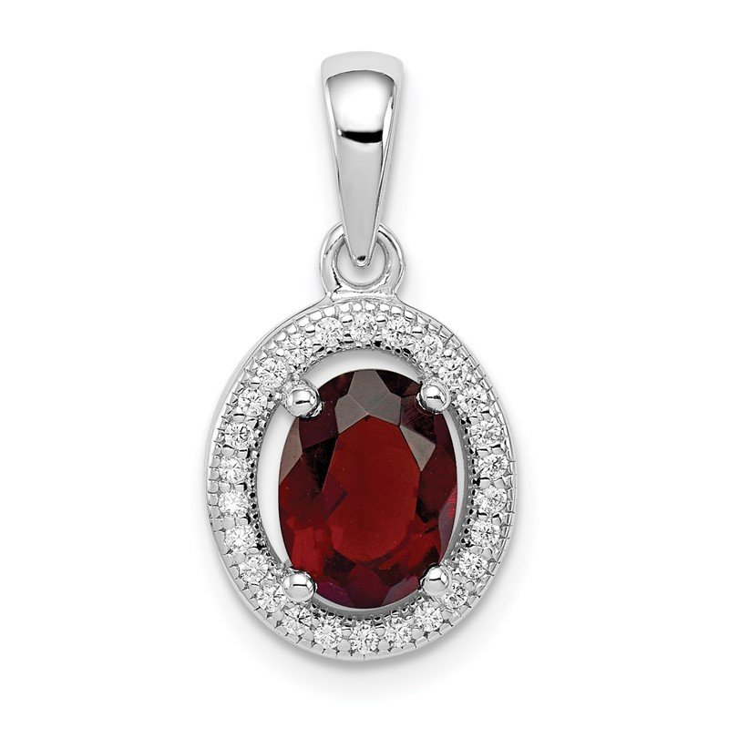 Quality Gold Sterling Silver Rhod-plated w/ Dark Red and White CZ Oval Pendant