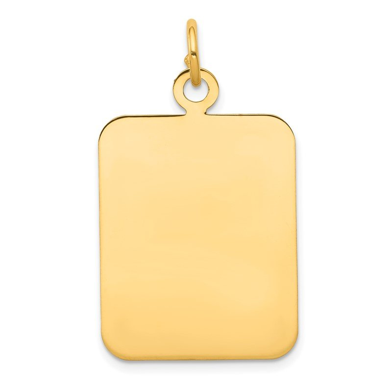 Quality Gold 14k Plain Rectangular .027 Gauge Engravable Disc Charm