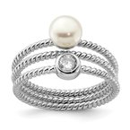 Quality Gold Sterling Silver Rhod-plat 6-7mm White Button FWC Pearl CZ set of 3 Ring