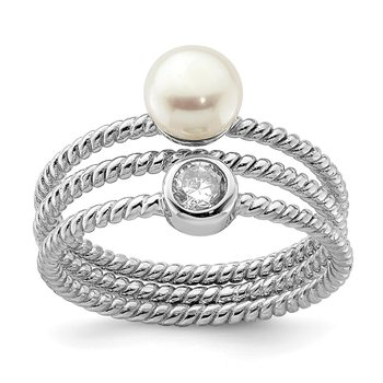 Sterling Silver Rhod-plat 6-7mm White Button FWC Pearl CZ set of 3 Ring