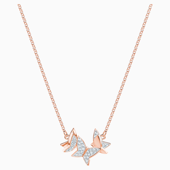 Lilia Necklace, White, Rose-gold tone plated