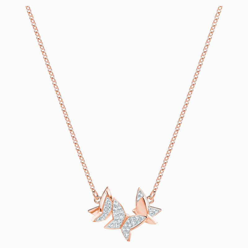 Swarovski Lilia Necklace, White, Rose-gold tone plated