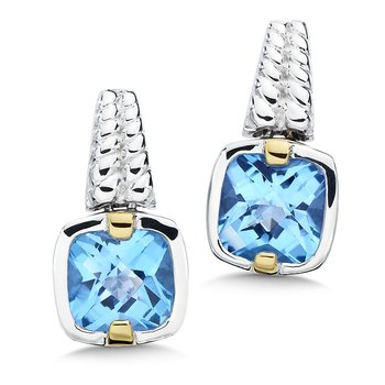 Sterling Silver, 18K Gold and Blue Topaz Earrings