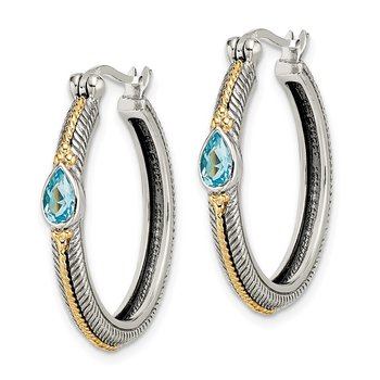 Sterling Silver w/ 14k Light Blue Swiss Topaz Hinged Hoop Earrings