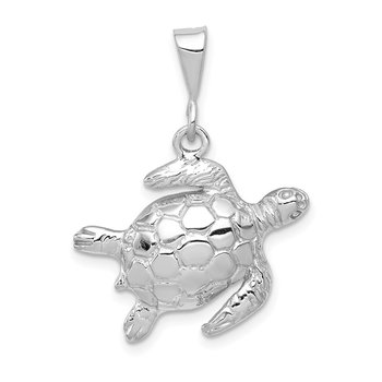 14k White Gold Solid Polished Open-Backed Sea Turtle Pendant