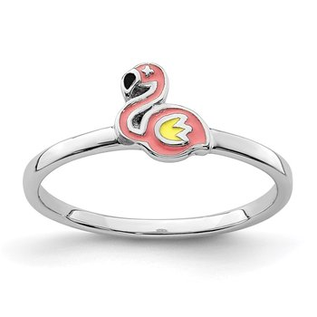 Sterling Silver Rhodium-plated Childs Enameled Flamingo Ring