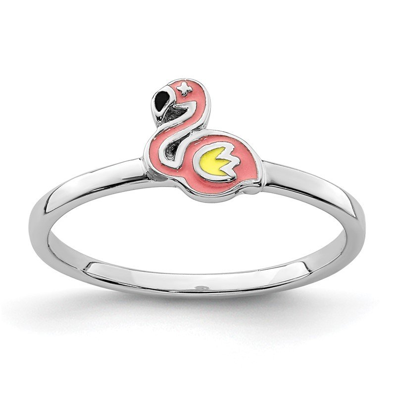Quality Gold Sterling Silver Rhodium-plated Childs Enameled Flamingo Ring