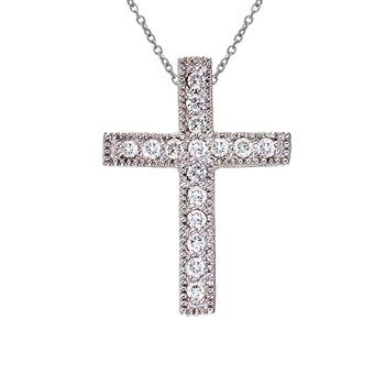 14K White Gold Medium Diamond Scroll Cross Pendant