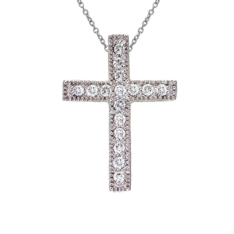 Color Merchants 14K White Gold Medium Diamond Scroll Cross Pendant