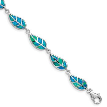 Sterling Silver Rhodium-plated Lab Created Opal Inlay Leaf Bracelet