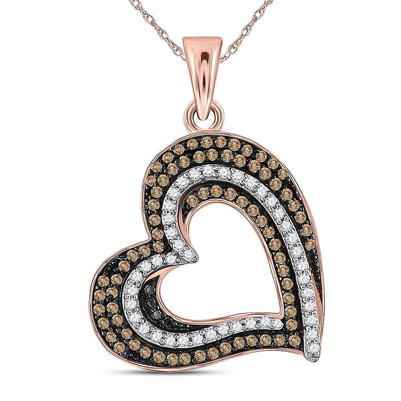 Gold-N-Diamonds, Inc. (Atlanta) 10kt Rose Gold Womens Round Brown Color Enhanced Diamond Heart Pendant 3/8 Cttw