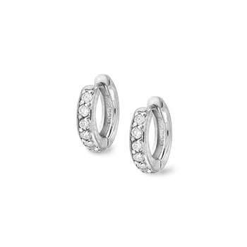 Diamond Mini Hoops in 14k White Gold with 12 Diamonds weighing .30ct tw.