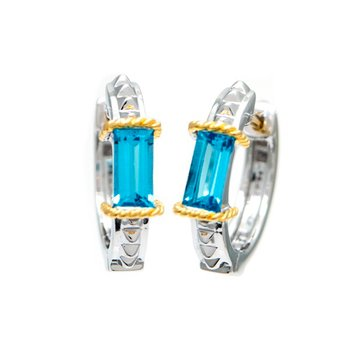 18kt and Sterling Silver Blue Topaz Earrings