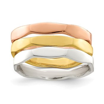 Sterling Silver 14K Gold & Rose Gold Vermeil 3-piece Ring Set