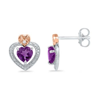 10kt White Gold Womens Round Lab-Created Amethyst Heart Earrings .01 Cttw