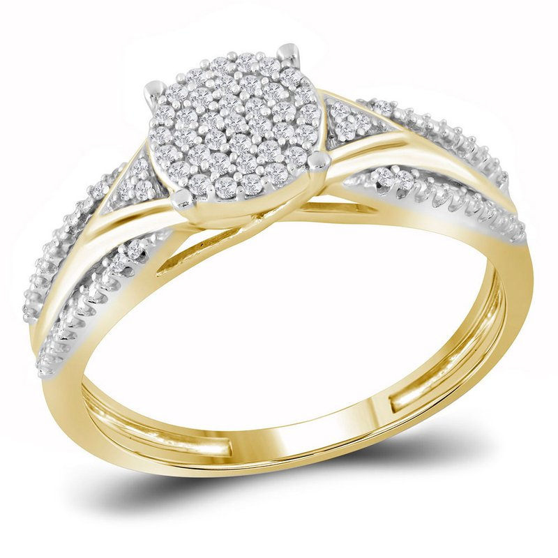 Gold-N-Diamonds, Inc. (Atlanta) 10kt Yellow Gold Womens Round Diamond Cluster Bridal Wedding Engagement Ring 1/6 Cttw