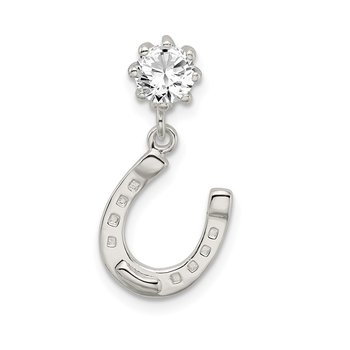 Sterling Silver CZ Horseshoe Chain Slide