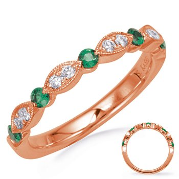 Rose Gold Emerald & Diamond Ring