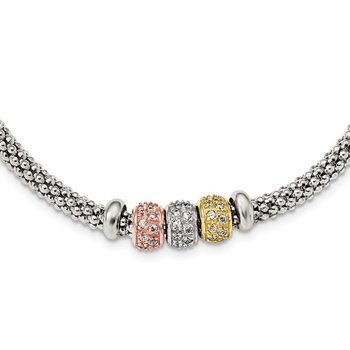 Sterling Silver Rose And Yellow Gold Tone CZ Beads Mesh Necklace