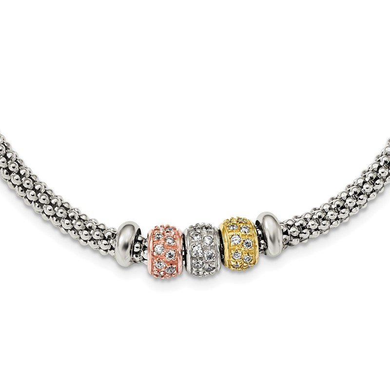 Quality Gold Sterling Silver Rose And Yellow Gold Tone CZ Beads Mesh Necklace