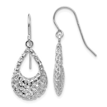 Leslie's 10K White Gold Textured Shepherd Hook Dangle Earrings