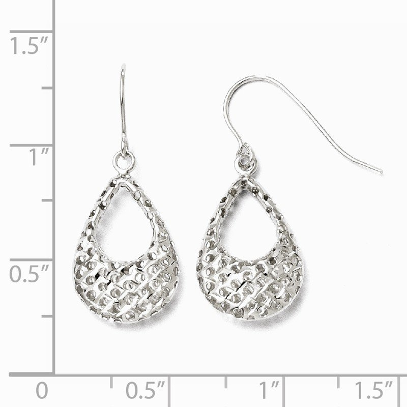Leslie's Leslie's 10K White Gold Textured Shepherd Hook Dangle Earrings