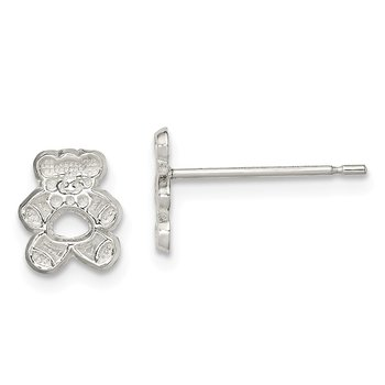 Sterling Silver Teddy Bear Mini Earrings