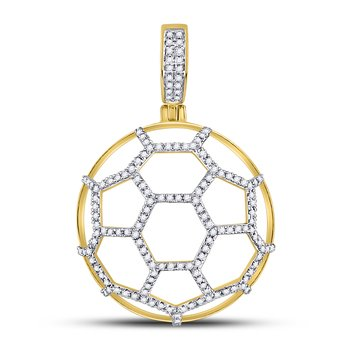 10kt Yellow Gold Mens Round Diamond Soccer Ball Football Charm Pendant 1/2 Cttw